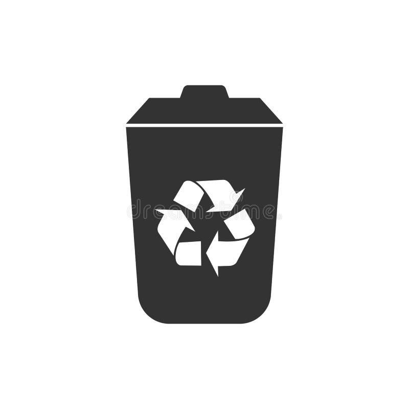 Recicl o ícone do escaninho Ilustração do vetor, projeto liso ilustração stock