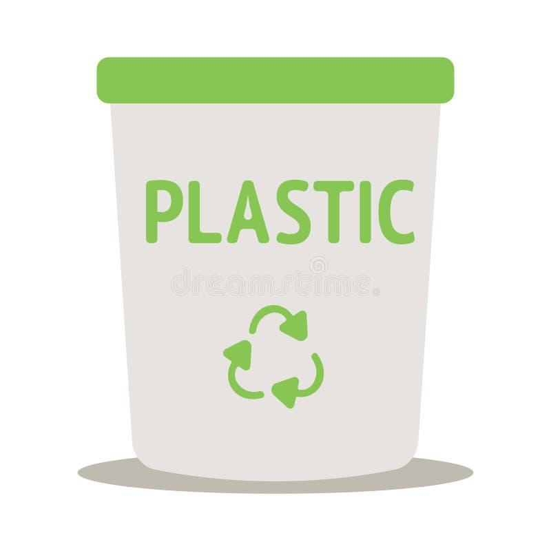 Recicl o conceito do escaninho Classificando o lixo A ecologia e recicla o conceito Ícone liso Ilustração do vetor ilustração stock