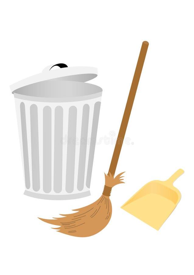 Recicl o escaninho com dustpan e vassoura ilustração do vetor