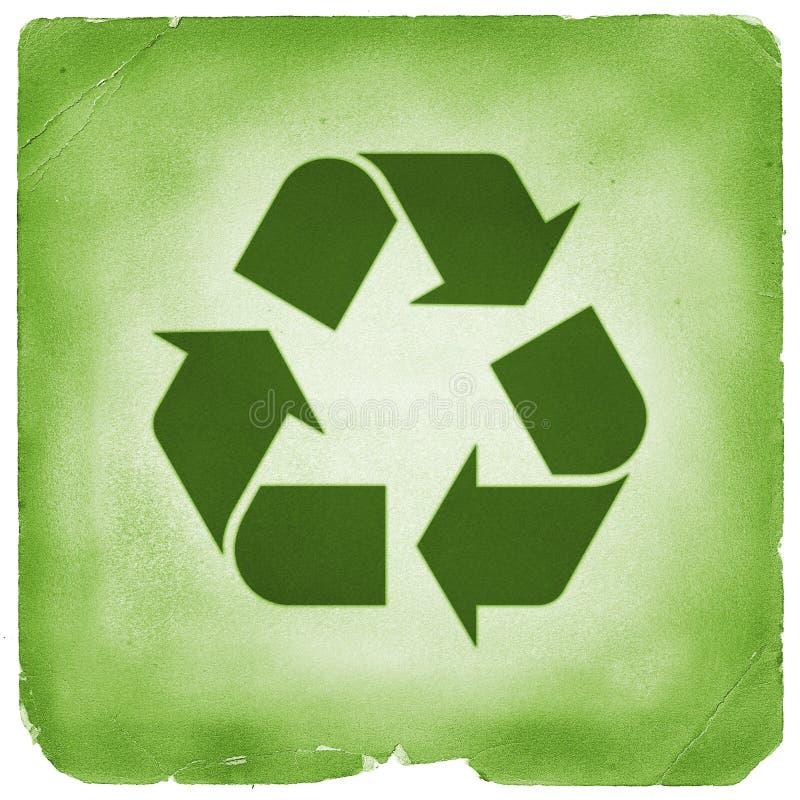 Recicl o estilo retro verde do sinal ilustração do vetor