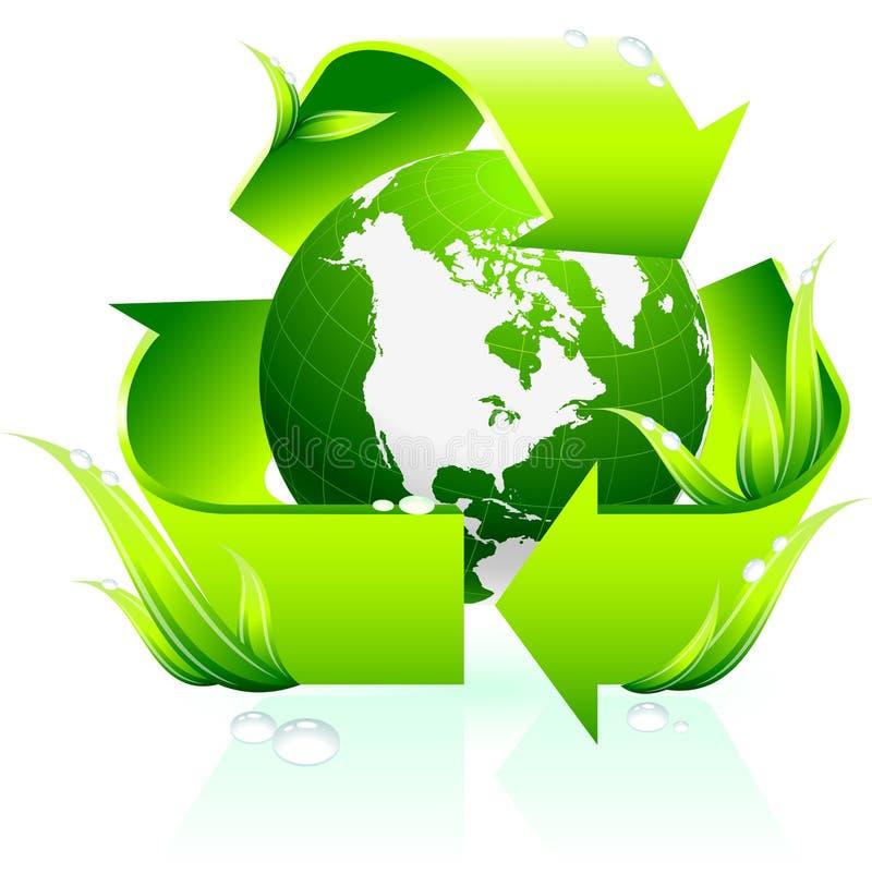 Recicl o símbolo com fundo do globo ilustração do vetor
