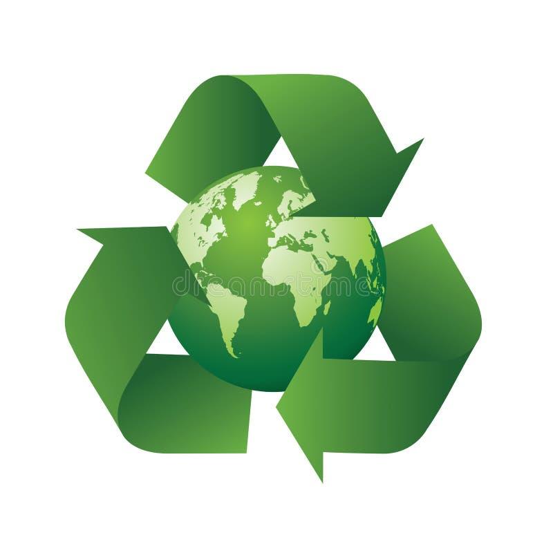 Recicl o símbolo e a terra ilustração stock