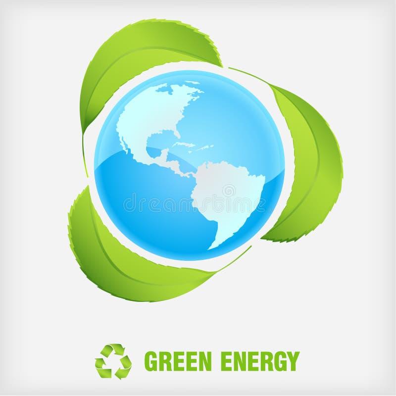 Recicl o símbolo, energia verde ilustração stock