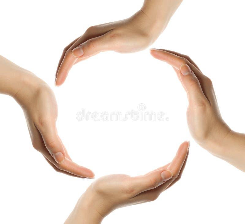 Recicl o símbolo feito das mãos imagem de stock royalty free