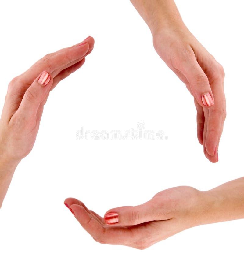Recicl o símbolo feito das mãos fotografia de stock royalty free