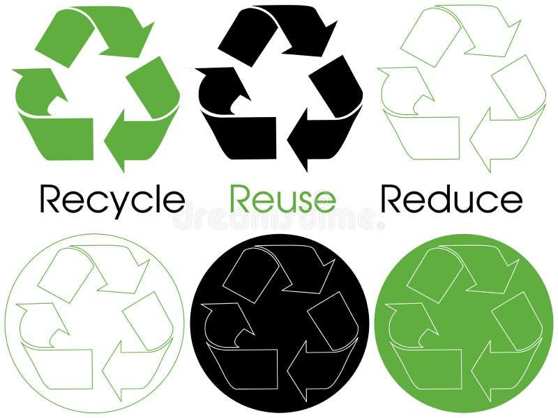 Recicl símbolos ilustração royalty free