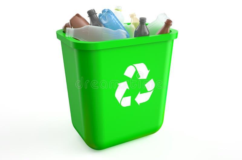 Reciclagem com garrafas plásticas ilustração royalty free