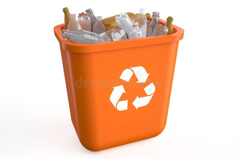 Reciclagem com garrafas plásticas ilustração stock