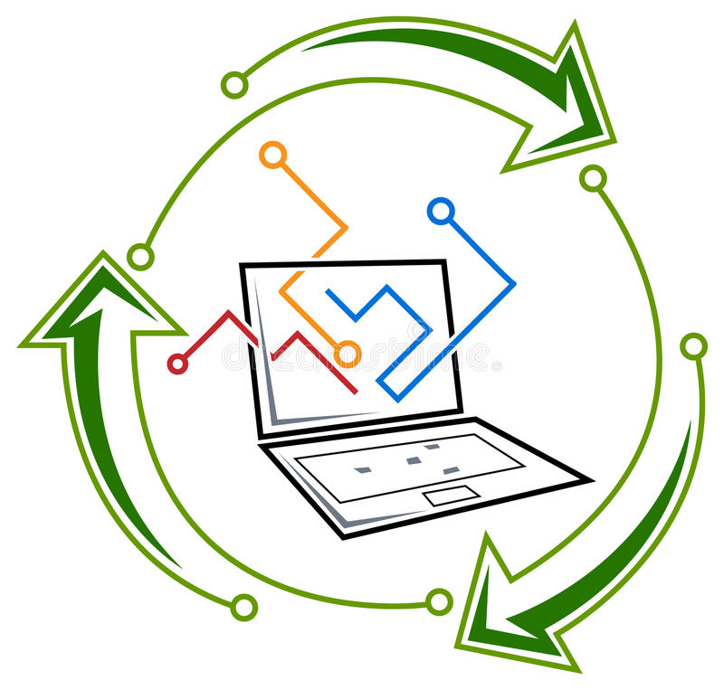 Reciclagem da eletrônica ilustração stock