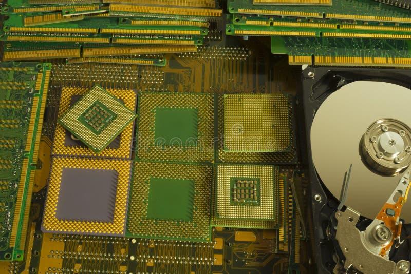 Reciclagem de resíduos eletrônica das peças velhas do computador fotografia de stock