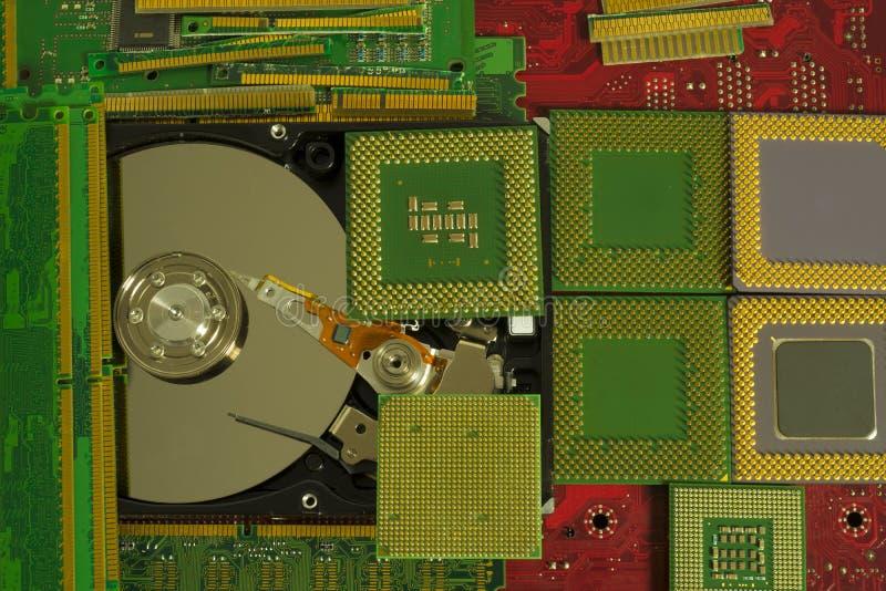 Reciclagem de resíduos eletrônica das peças velhas do computador foto de stock