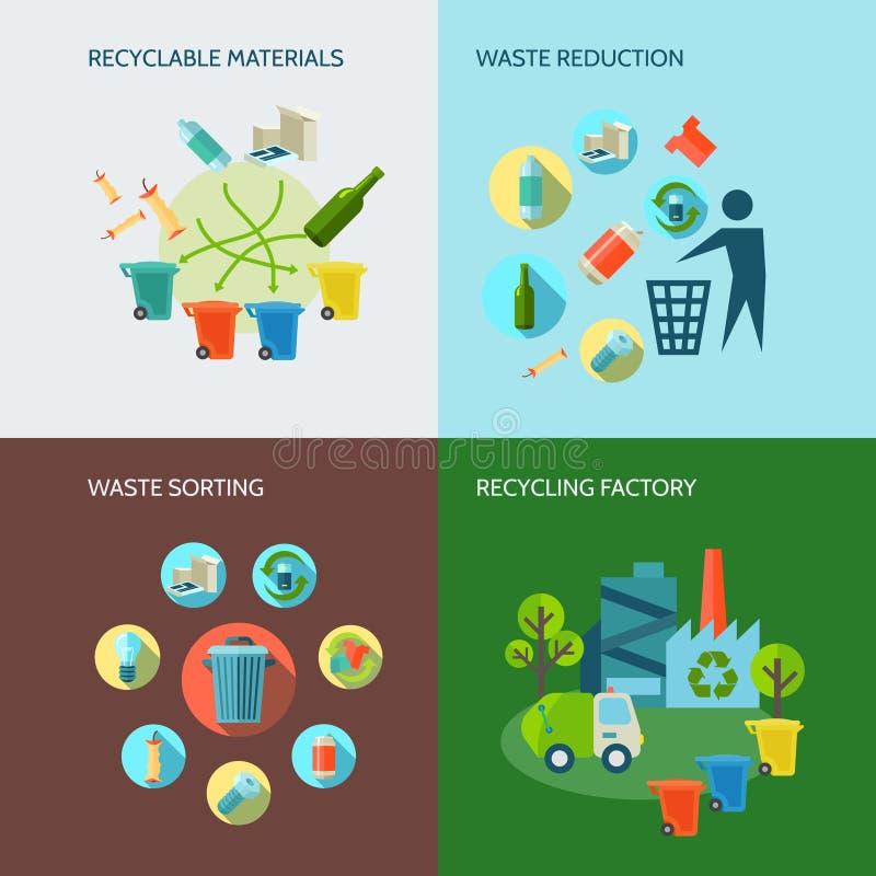 Reciclagem e ícones Waste da redução ajustados ilustração do vetor