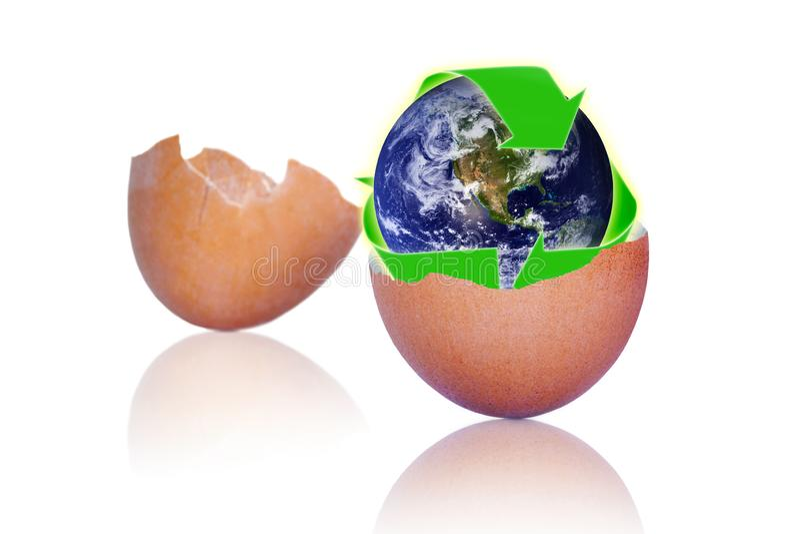Reciclaje de cáscaras de huevo para proteger la tierra del planeta ilustración del vector