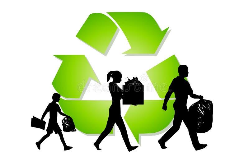 Reciclaje de la basura de la familia que lleva libre illustration