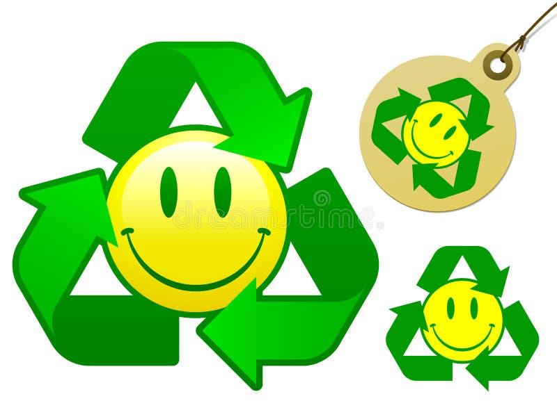 Reciclaje de la colección sonriente del icono ilustración del vector