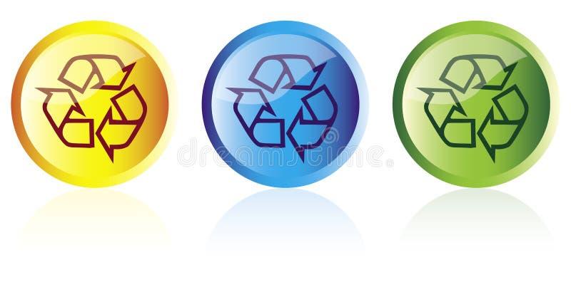 Reciclaje de los botones stock de ilustración