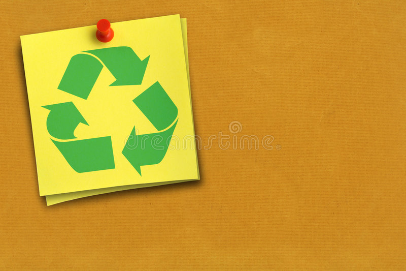 Reciclaje de símbolo en nota fotos de archivo libres de regalías