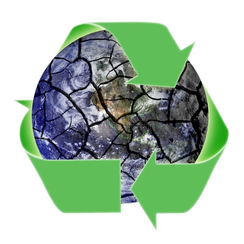 Reciclaje de símbolo sobre la tierra frágil del planeta stock de ilustración
