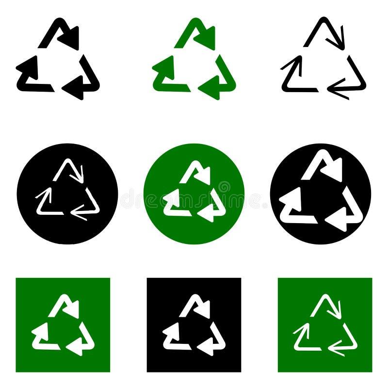 Reciclaje de s?mbolo de fondos ecol?gicamente puros, sistema de flechas imágenes de archivo libres de regalías