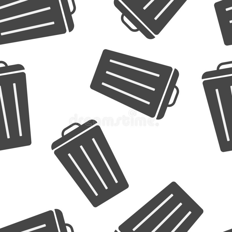Reciclaje del envase de la muestra de la basura aislado Compartimiento plano del icono Plano la imagen bote de basura modelo inco ilustración del vector