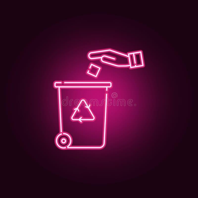 Reciclaje del icono de neón del centro Elementos del sistema de la ecolog?a Icono simple para las p?ginas web, dise?o web, app m? ilustración del vector