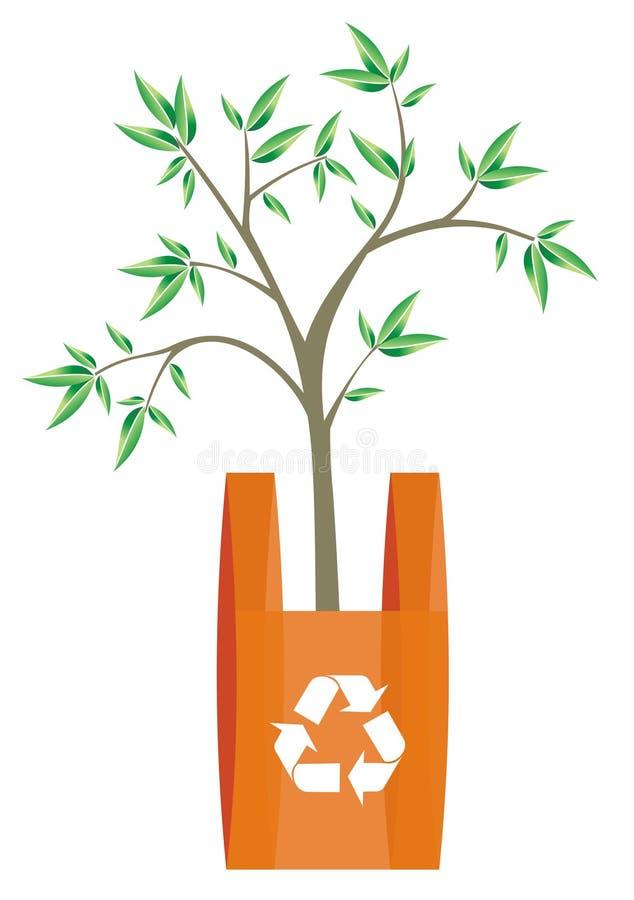 Reciclando el bolso con el árbol adentro ilustración del vector
