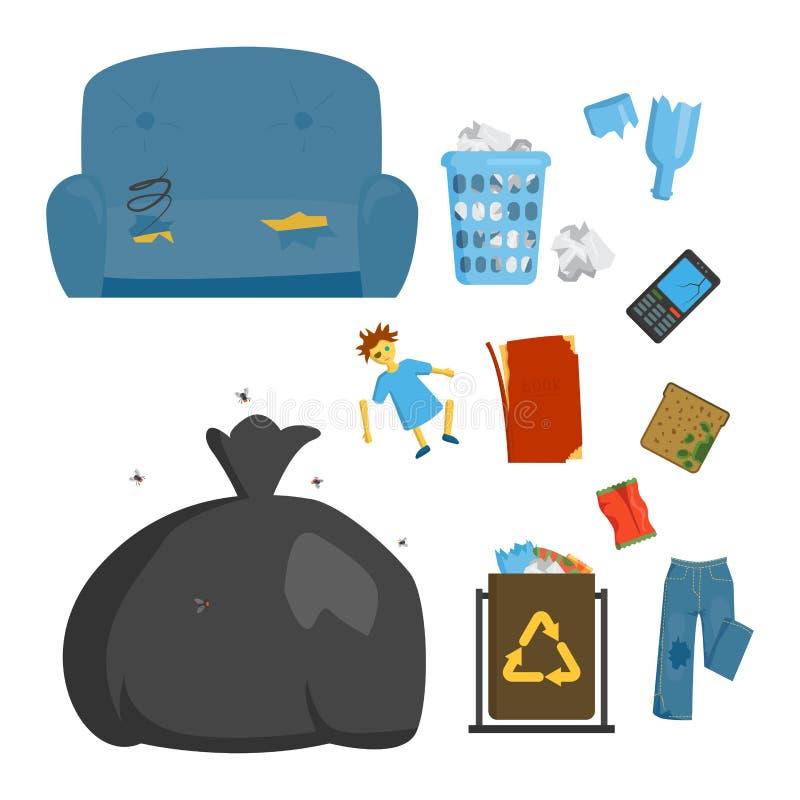 Reciclando industria de la gestión de los neumáticos de los bolsos de basura de los elementos de la basura utilice el concepto y  ilustración del vector