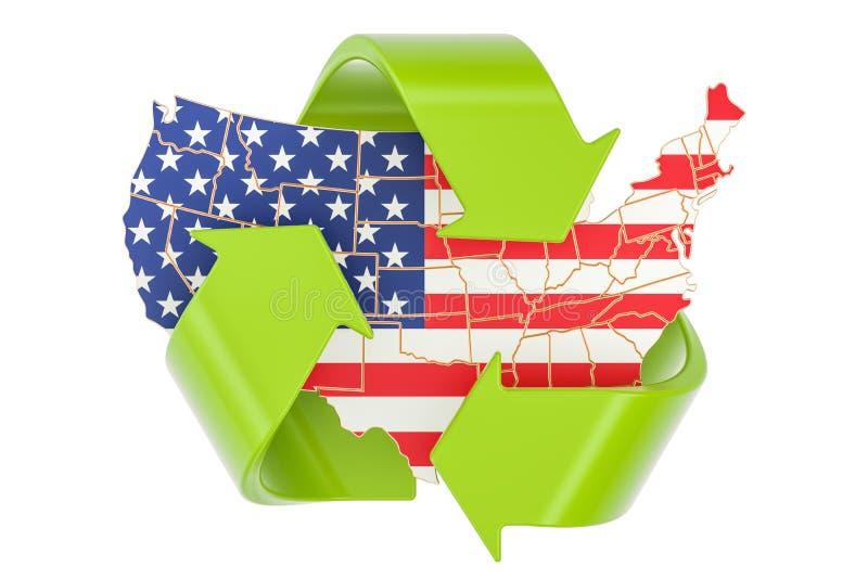 Reciclando no conceito do Estados Unidos, rendição 3D ilustração do vetor