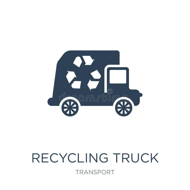 reciclando o ícone do caminhão no estilo na moda do projeto Reciclando o ícone do caminhão isolado no fundo branco reciclando o í ilustração stock