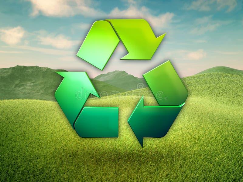 Reciclando o símbolo em um prado verde ilustração royalty free