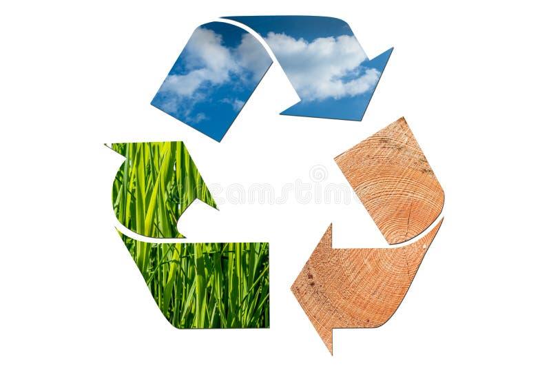 Reciclando para la naturaleza - cielo, madera e hierba aislados en el fondo blanco fotografía de archivo