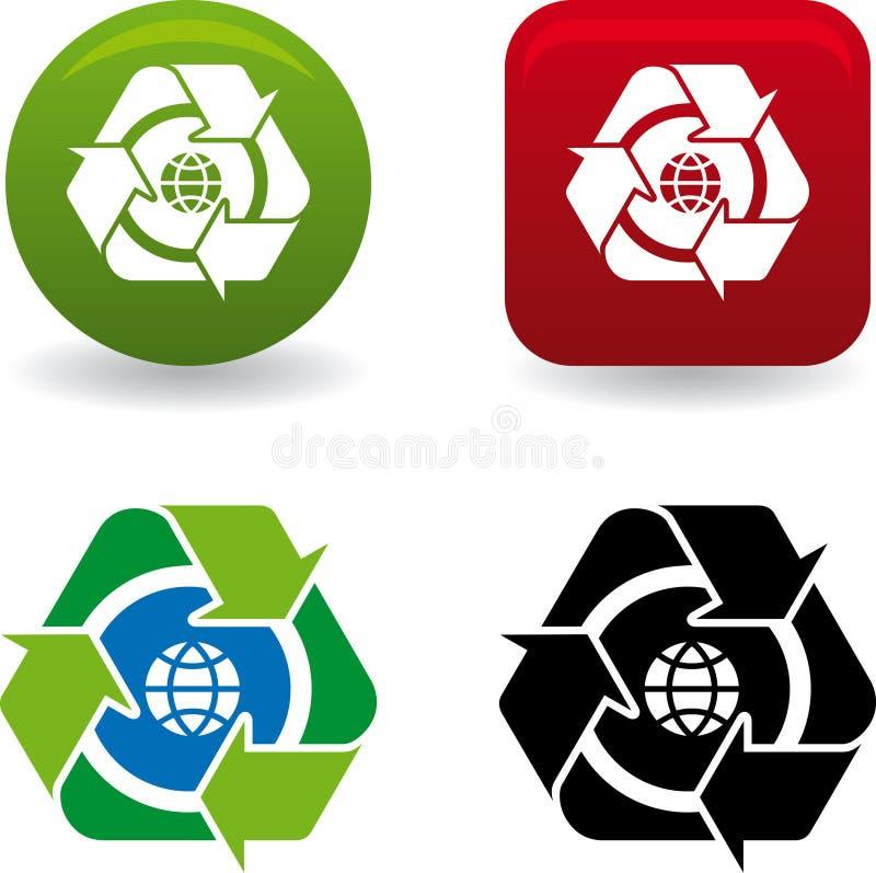Reciclar mundo (vector). Clean environment - conceptual recycling symbol stock illustration