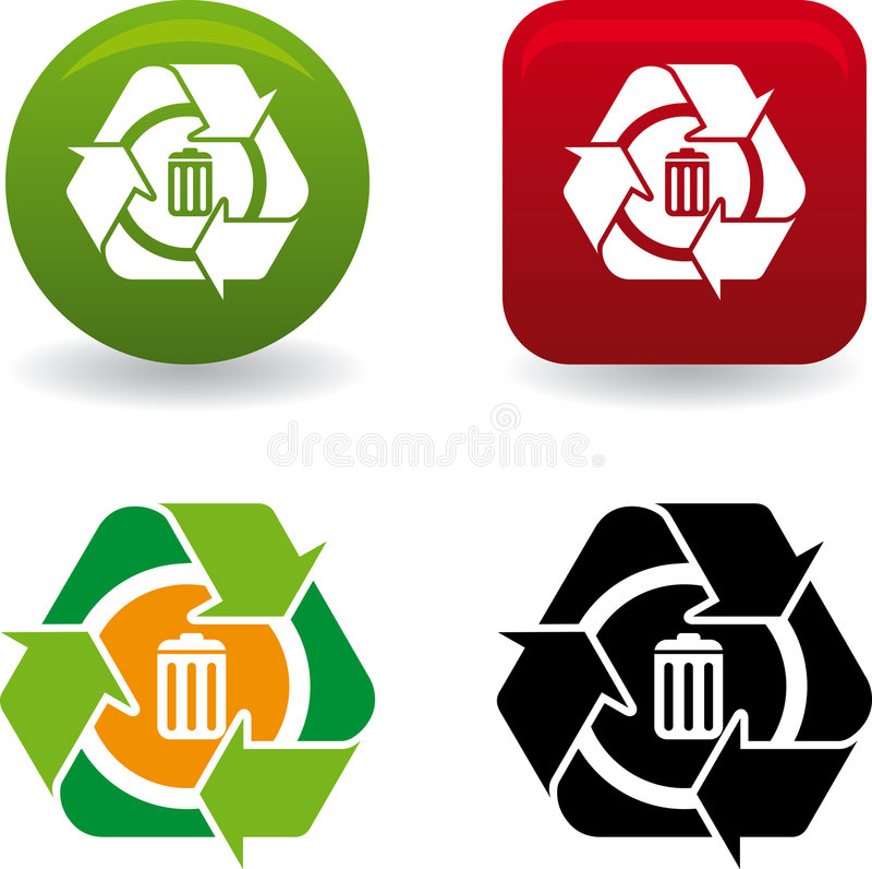 Reciclar papelera (vector). Conceptual around trash recycling symbol vector illustration