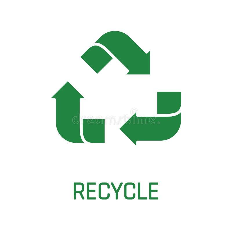 Recicle as setas do verde do sinal isoladas no fundo branco ilustração do vetor