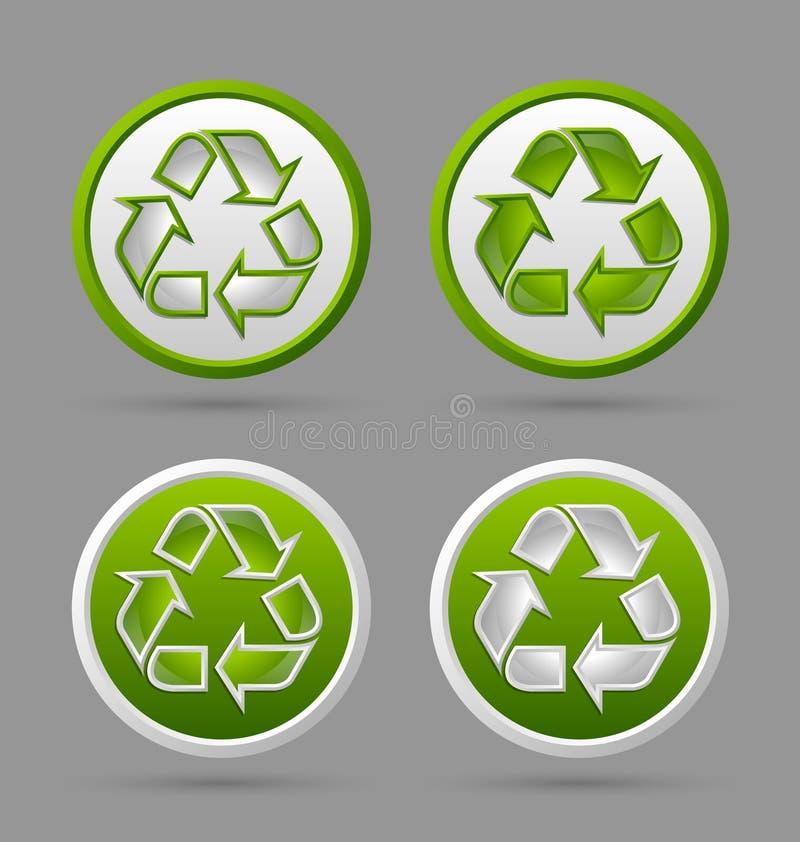 Recicle crachás do símbolo ilustração stock