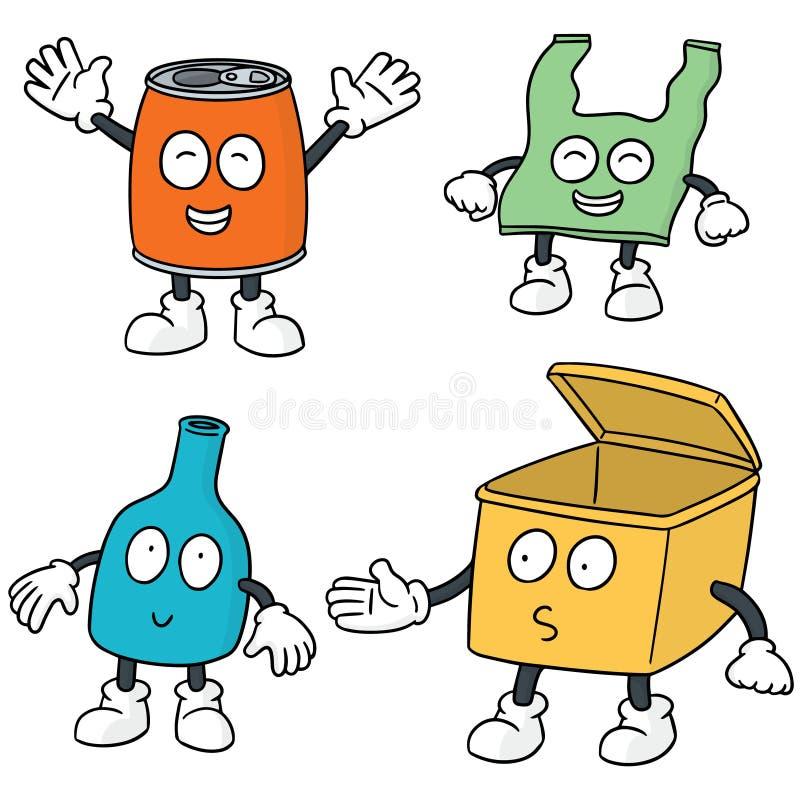 Recicle desenhos animados do lixo ilustração stock