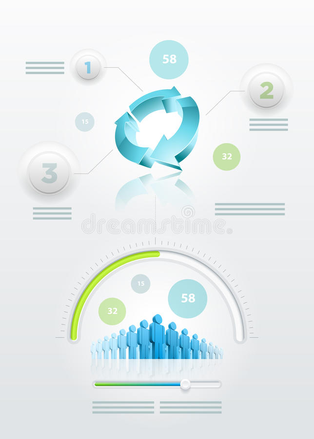 Recicle e infographics de la comunidad stock de ilustración