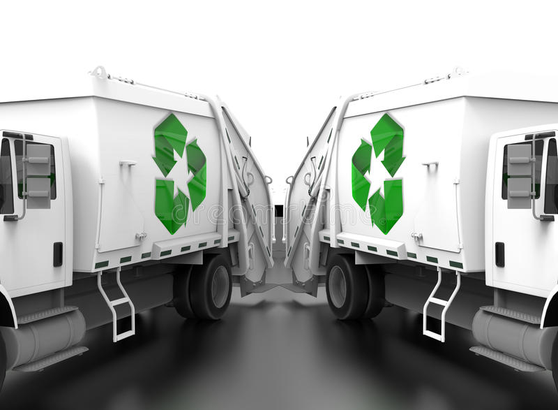 Recicle el concepto del trabajo en equipo de los camiones de lado a lado libre illustration