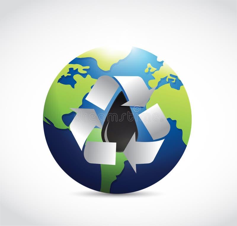 Recicle el ejemplo del aceite en el mundo entero stock de ilustración