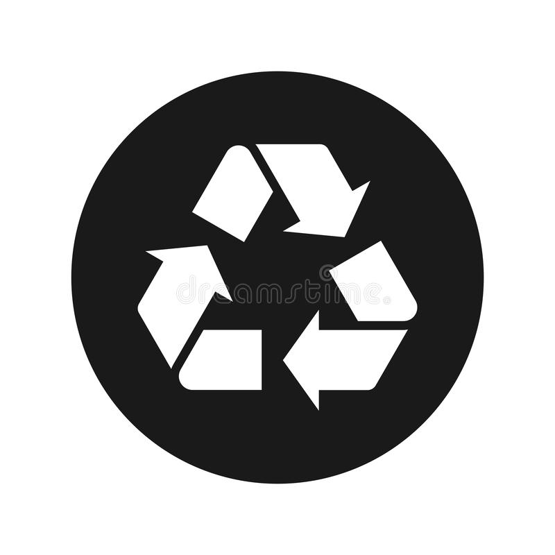 Recicle el ejemplo redondo negro plano del vector del botón del icono del símbolo ilustración del vector