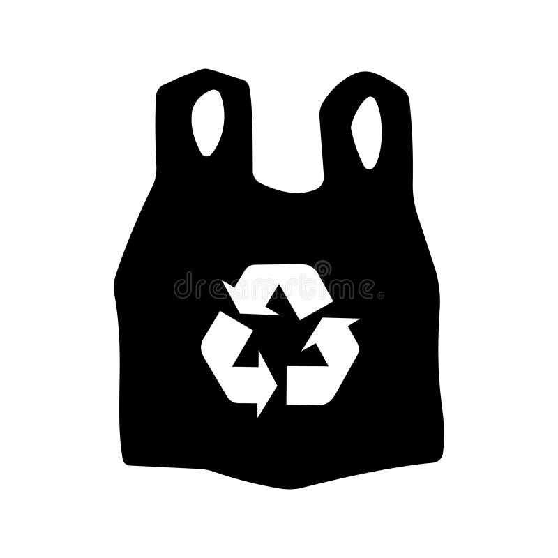 Recicle el icono de la bolsa de plástico ilustración del vector