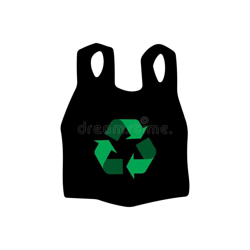 Recicle el icono de la bolsa de plástico imagen de archivo libre de regalías
