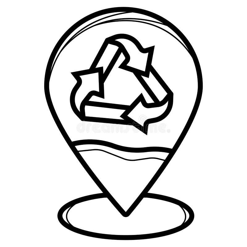 Recicle el icono de la ubicación del perno stock de ilustración