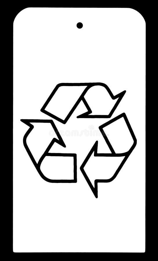Recicle el símbolo en la etiqueta blanca imágenes de archivo libres de regalías