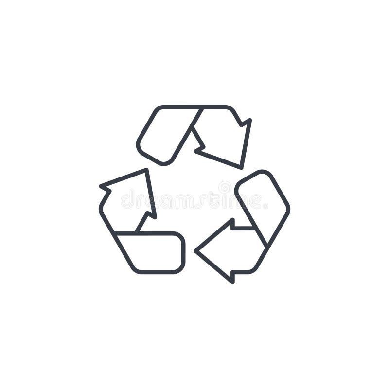 Recicle el símbolo verde Línea fina icono de la protección del medio ambiente Símbolo linear del vector stock de ilustración