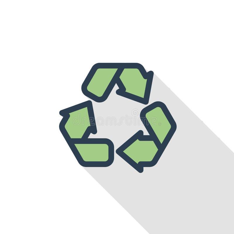Recicle el símbolo verde Línea fina icono plano de la protección del medio ambiente del color Símbolo linear del vector Sombra la stock de ilustración