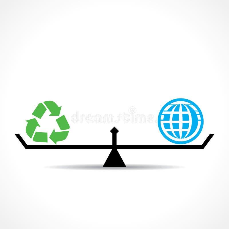 Recicle el símbolo y global ambos son igual, van verde y ahorran concepto de la tierra ilustración del vector