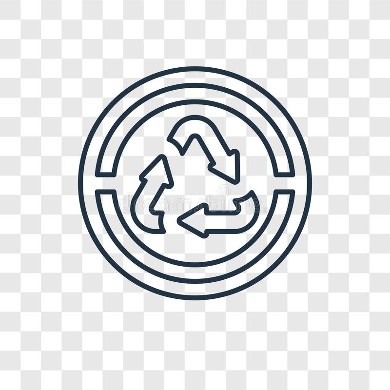 Recicle el vector del concepto de las flechas que el icono linear aislado encendido transparen stock de ilustración