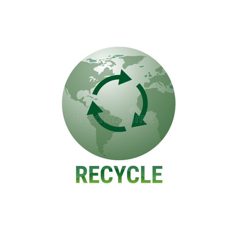 Recicle el verde Logo Web Icon del símbolo del globo de la tierra ilustración del vector