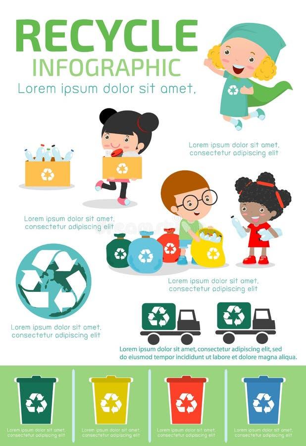 Recicle Infographic, recolha desperdícios para reciclar, salvar o mundo, menino e menina reciclando, crianças que segregam o lixo ilustração stock